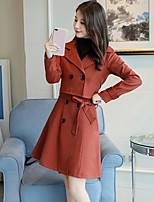 cheap -Women's Daily Going out Casual Winter Fall Set Dress Suits,Solid Shirt Collar Long Sleeve Oversized Polyester Micro-elastic