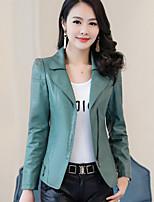 cheap -Women's Daily Casual Fall Denim Jacket,Solid V Neck Long Sleeve Short PU