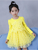 cheap -Girl's Daily Going out Floral Print Embellished&Embroidered Dress,Cotton Polyester Spring Fall Long Sleeves Cute Active Chinoiserie Yellow