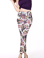 cheap -Women's Polyester Opaque Print Legging, Floral White