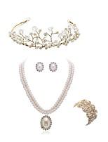preiswerte -Damen Kränze Braut-Schmuck-Sets Strass Europäisch Modisch Hochzeit Party Künstliche Perle Diamantimitate Aleación Blume Körperschmuck 1
