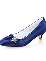 cheap -Women's Shoes Stretch Satin Spring Fall Basic Pump Wedding Shoes Kitten Heel Round Toe Crystal for Wedding Party & Evening Dark Blue