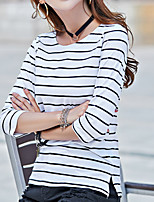 cheap -Women's Going out Casual Spring T-shirt,Striped Round Neck ¾ Sleeve Polyester