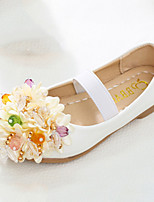 cheap -Girls' Shoes PU Spring Fall Comfort Novelty Flower Girl Shoes Flats Applique Beading Magic Tape for Wedding Party & Evening Pink White