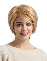 cheap -Human Hair Capless Wigs Human Hair Straight Layered Haircut Pixie Cut Side Part Short Machine Made Wig Women's