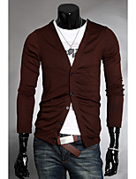 cheap -Men's Daily Regular Cardigan,Print V Neck Long Sleeve Polyester Fall Thick Micro-elastic