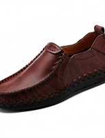 cheap -Men's Shoes Cowhide Leather Spring Fall Comfort Loafers & Slip-Ons for Casual Black Brown Wine