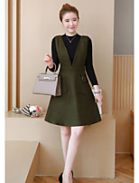 cheap -Women's Daily Casual Winter Set Dress Suits,Solid V-neck Long Sleeve Oversized Polyester Micro-elastic