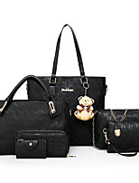 cheap -Women's Bags PU Bag Set 6 Pieces Purse Set Zipper for Shopping Casual All Season Beige Red Black Gold Blue