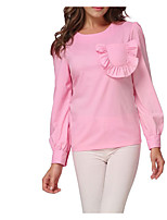 cheap -Women's Daily Casual Spring T-shirt,Solid Round Neck Long Sleeve Cotton Opaque