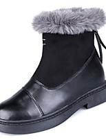 Недорогие -Для женщин Обувь Полиуретан Весна Модная обувь Ботинки На толстом каблуке Круглый носок Сапоги до середины икры для Повседневные Черный