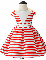 cheap -Girl's Daily Going out Solid Striped Flower/Floral Dress,Cotton Spring, Fall, Winter, Summer All Seasons Short Sleeves Cute Active