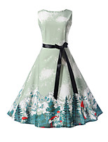 cheap -Girl's Daily Going out Print Dress,Cotton Summer Sleeveless Cute Street chic Light Blue