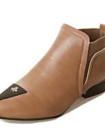 Недорогие -Жен. Обувь Полиуретан Зима Осень Удобная обувь Модная обувь Ботинки Блочная пятка Заостренный носок Сапоги до середины икры для