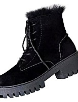 cheap -Women's Shoes Nubuck leather Winter Fall Comfort Boots Chunky Heel for Outdoor Black
