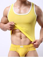 abordables -Hombre Microelástico Un Color Opaco Camisetas Interiores,Poliéster 1 Azul Piscina Blanco Negro Morado Amarillo