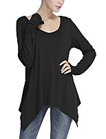 cheap -Women's Daily Casual Fall T-shirt,Solid Round Neck Long Sleeve Cotton