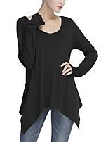 abordables -Tee-shirt Femme,Couleur Pleine Quotidien Décontracté Automne Manches longues Col Arrondi Coton