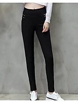 preiswerte -Damen Stilvoll Mittel Polyester Solide Einfarbig Legging,Schwarz