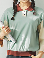 cheap -Women's Daily Casual Spring Fall T-shirt,Color Block Shirt Collar Long Sleeve Polyester