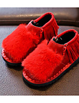 Недорогие -Девочки обувь Дерматин Зима Осень Удобная обувь Зимние сапоги Ботинки Ботинки для Повседневные Черный Серый Красный