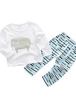 Недорогие -малыш Девочки Набор одежды Повседневные Хлопок Полоски Весна Длинный рукав Обычные Белый