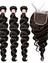 Недорогие -Малазийские волосы Свободные волны Ткет человеческих волос 4шт 4 предмета 0.3
