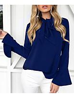 Недорогие -Для женщин На выход Весна Блуза V-образный вырез,Винтаж Однотонный Длинные рукава,Полиэстер,Плотная