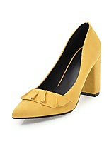 cheap -Women's Shoes Leatherette Spring Summer Comfort Heels Chunky Heel Pointed Toe for Party & Evening Dress Pink Green Yellow Beige Black