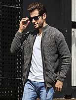 cheap -Men's Daily Short Cardigan,Solid V Neck Long Sleeve Polyester Winter Thick strenchy