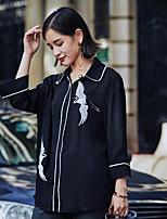 Недорогие -Для женщин Повседневные Рубашка Рубашечный воротник,На каждый день С принтом Длинные рукава,Полиэстер