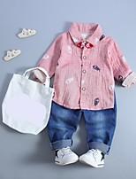 cheap -Boys' Daily Geometric Clothing Set,Cotton Spring Fall Long Sleeve Casual Blushing Pink