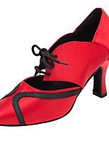 cheap -Women's Modern Satin Sandal Heel Professional Customized Heel Dark Red / Customizable