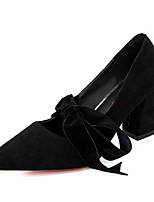 cheap -Women's Shoes PU Spring Fall Comfort Heels Chunky Heel for Casual Black Gray