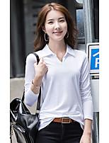 abordables -Tee-shirt Femme,Couleur Pleine Quotidien Décontracté Manches longues Mao Coton
