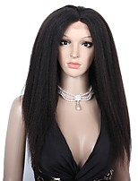 cheap -100% Human Virgin Hair Lace Wig kinky straight With Baby Hair Glueless Lace Front African American Wig 130% Density Dark Black Natural