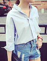 cheap -Women's Daily Casual Winter Fall Shirt,Solid Shirt Collar Long Sleeve Polyester Opaque