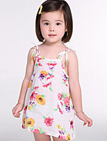 cheap -Girl's Floral Dress,Polyester Summer Sleeveless Simple Navy Blue White Blue