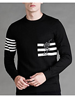 cheap -Men's Daily Casual Regular Pullover,Print Round Neck Long Sleeves Polyester Winter Opaque Micro-elastic