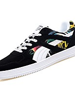 cheap -Women's Shoes PU Fall Comfort Sneakers Flat Heel Round Toe for Casual Black/Yellow Black/White White