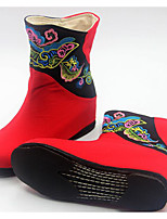 cheap -Women's Shoes Fabric Spring Fall Comfort Fashion Boots Boots Wedge Heel Mid-Calf Boots for Casual Red Black