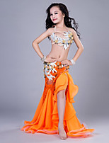 cheap -Belly Dance Outfits Children's Performance Spandex Lace Velvet Chiffon Pleated Crystals/Rhinestones Sleeveless Dropped Skirts Bra