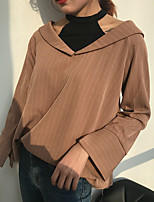 cheap -Women's Casual/Daily Street chic Shirt,Striped Color Block Halter Long Sleeves Cotton Polyester