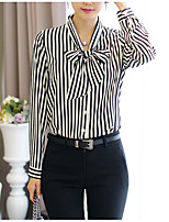 cheap -Women's Going out Casual Fall Shirt,Striped V Neck Long Sleeve Cotton Opaque