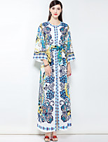 cheap -MARY YAN&YU Women's Party Cute Boho Plus Size Loose Maxi Dress,Floral Basic Round Neck Long Sleeve Cotton Spring Summer