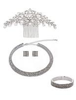 preiswerte -Damen Haarkämme Braut-Schmuck-Sets Strass Europäisch Modisch Hochzeit Party Künstliche Perle Diamantimitate Aleación Geometrische Form