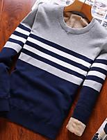 preiswerte -Herren Standard Pullover-Ausgehen Einfarbig Rundhalsausschnitt Langarm Polyester Winter Herbst Dick Mikro-elastisch