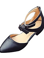 cheap -Women's Shoes PU Spring Fall Comfort Heels Low Heel Pointed Toe for Casual Black White