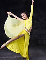 cheap -Belly Dance Outfits Children's Performance Silk Modal Ruffles Long Sleeves Dropped Skirts Top