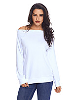 cheap -Women's Daily Holiday Street chic Winter T-shirt,Solid Round Neck Long Sleeve Polyester Spandex Opaque